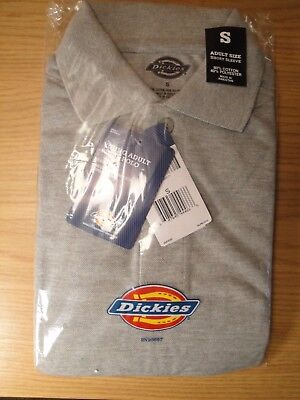 Dickies Grey Men's SMALL Short Sleeve Pique Polo Work Uniform Shirt NEW