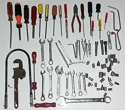 Huge Lot 83 Assorted Vintage Tools Screw Drivers Wrenches Wood Saws Sockets BULK