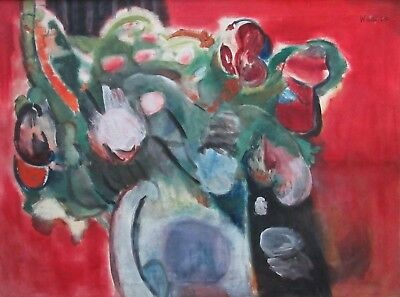 Listed Artist William Hallé (1912-1998) Large Abstract Expressionist Oil Paintin