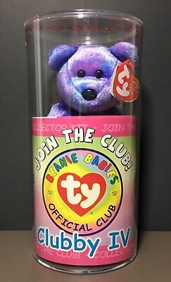Ty Clubby IV Beanie Babies Collector Kit Purple Pink Blue Bear New Sealed