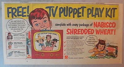 Nabisco Cereal Ad: Free! TV Puppet Play Kit Shredded Wheats 1953