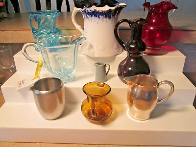 VINTAGE Pitchers LOT 9/ SMALL COLORED HAND BLOWN ART GLASS,ceramic,silverplate+