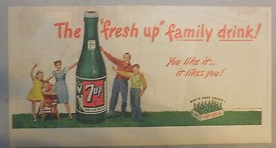 """7-Up Ad: The """"Fresh Up"""" Family Drink ! from 1940's- 50's  7.5 x 14  inches"""