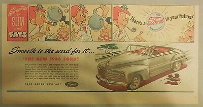 """Ford  Ad: """"Adventures of Slim and Fats: 1946 Ford""""  from 1946"""