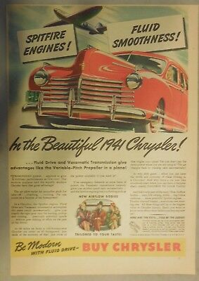 Chrysler Car Ad: The Beautiful 1941 Chrysler! Size: 11 x 15 Inches