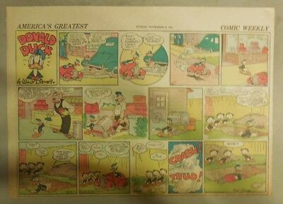 Donald Duck Sunday Page by Walt Disney from 11/9/1941 Half Page Size