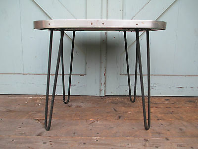 small Retro Coffee / Side Table Mid Century Modern Wood  Hairpin Legs