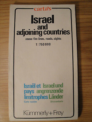 1975 Carta's Israel and Adjoining Countries Map Kummerly + Frey 1:750000 scale