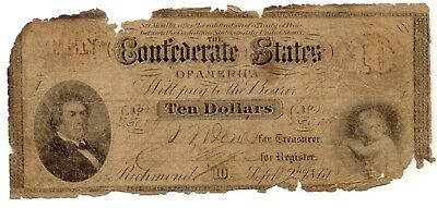 1861 $10 T 24 low-grade but survived burning of Atlanta