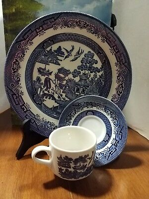Vintage Blue Willow Serving Set 10 Inch Plate Cup And Saucer