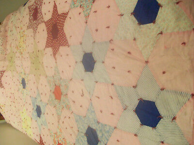 Vintage Hand Pieced Feed Sack Tied Quilt. Needs some TLC.