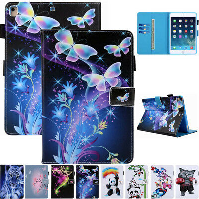For iPad 5/6th Gen/Air 1 2/Mini Smart Magnetic Flip Card Slot Stand Case Cover