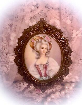 "Antique VICTORIAN Miniature Framed PRINT 5"" X 4"" ORNATE Cast Metal FRAME"