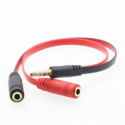 3.5mm Male to 2 Female Jack Audio Y Splitter Cable Headphone Mic Adapter Phone