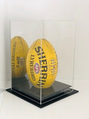 Football AFL Ball Acrylic Perspex Display Case Vertical Mirror Backing