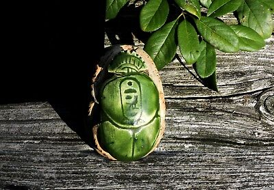 Egyptian Vintage Faience DkGreen Glaze Statue Hand Carved Scarab Stone Sculpture