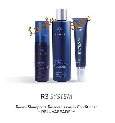 MONAT Hair R3 System Rejuvabeads Hydration Renew Shampoo Restore Conditioner 3Pc