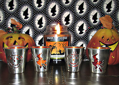 Set Of 4 Halloween Votive/tea Light Candle Holders *witch & Pumpkin* New In Box