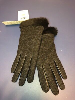 UGG Shorty Shearling-Cuff Tech Gloves Black Size SMALL NWTS