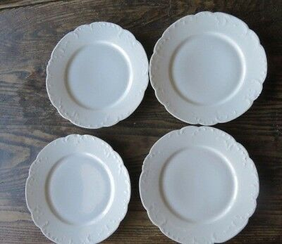 "4 Antique Haviland Limoges France Marseille Dinner Plates 9 5/8"" (Set B) White"