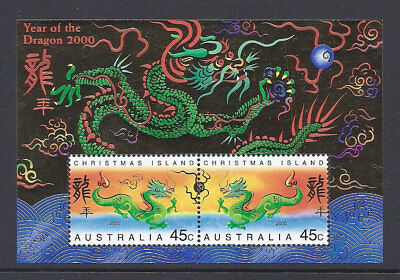 2000 Christmas Island Stamps - Lunar New Year-Year of Dragon Mini Sheet MUH