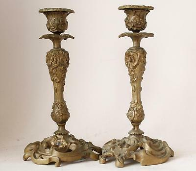 Pair of Antique German Ornate Classical Bronze Candleholders Candelabrum c.1880s