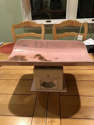 Pink Vintage Detecto Baby Infant Scale Metal with chart
