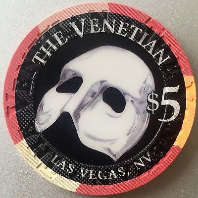 $5 Venetian Casino Chip - The Mask - Las Vegas - Venice - Poker -Near Mint- RARE
