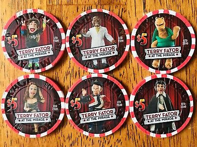 $5 Mirage Casino Chips - Complete Set of 6 - Terry Fator - Las Vegas -RARE