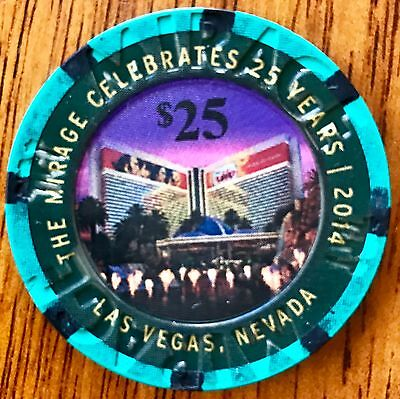 $25 Mirage Casino Chip -25th Anniversary 2014 -Las Vegas- Poker, Blackjack -RARE