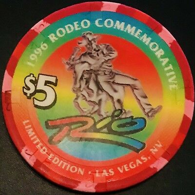 $5 Rio Casino Chip - Las Vegas - 1996 Rodeo Commemorative - Poker - RARE