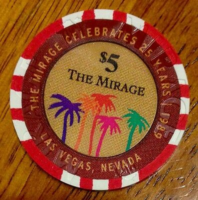 The Mirage $5 Casino Chip - 25th Anniversary 2014 - Poker - Las Vegas -BRAND NEW