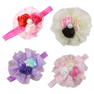 Baby Girl Infant Headband Rose Flower Lace Headwear Hair Band Purple Y8Z3