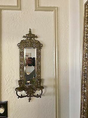 Pair Ornate Rococo Bronze Mirror Victorian Wall Mirror Wall Sconces 23""
