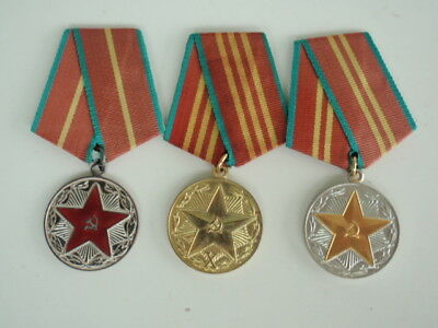 Soviet Russia 10, 15, & 20 Year Military Service Medals