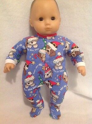 """15"""" Bitty Baby Christmas Dogs pjs sleeper pajamas Girl/boy Doll Clothes outfit"""