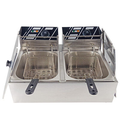 5000W 20L Electric Deep Fat Fryer Commercial Stainless Steel Double Fryer Basket