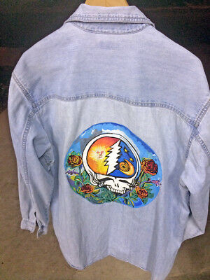 Custom Hand Painted Denim Levi Shirt XL with STEAL YOUR FACE - Grateful Dead !!!