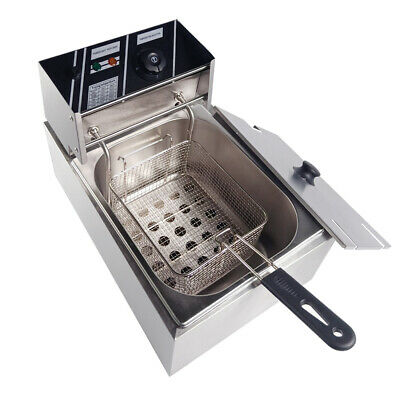 10L 2500W Electric Deep Fryer Commercial Countertop Fat Chip UK Stainless Steel