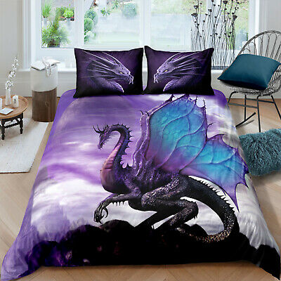 Dragon Duvet Cover with Pillow Case Quilt Cover Bedding Set Kids All Size Animal