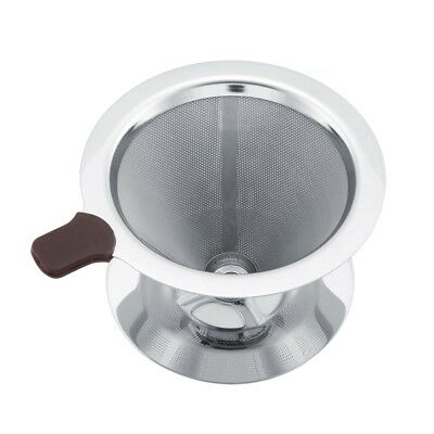 Stainless Steel Coffee Filter Reusable Funnel Brew Dripper Mesh with Cup Stand