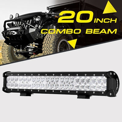 20INCH 126W CREE LED Light Bar Flood Spot Driving Offroad 4WD Truck ATV for JEEP