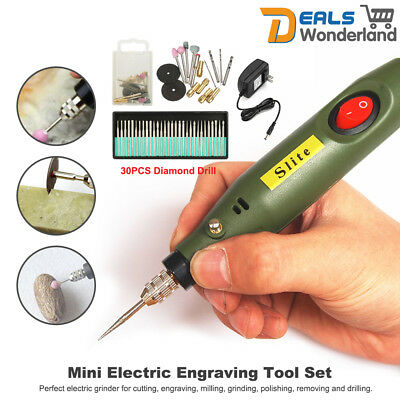 Portable Mini Electric Wood Jade Carving Tools Set + 30PCS Diamond Drill