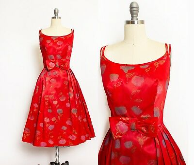 Vintage 1950s Dress Red Satin Rose Gold Printed Bow Full Skirt Small