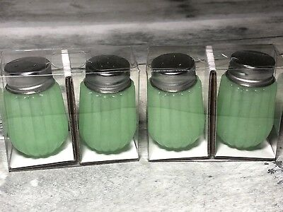 Hearth and Hand Magnolia Glass Green Jadeite Salt & Pepper Shakers LOT OF 2 SETS