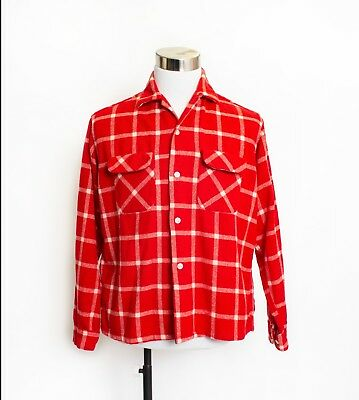 """Vintage 1950s Men's Shirt Red & White Plaid Wool Loop Button Oxford Large 44"""""""
