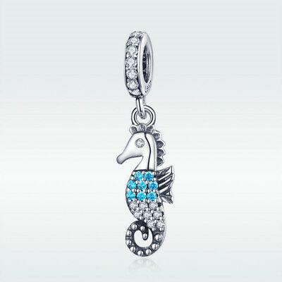 .925 Sterling Silver Antiqued Seahorse Charm Pendant