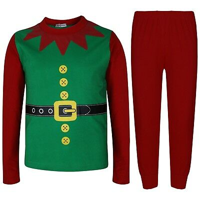 Kids Girls Boys Elf Christmas Pyjamas Xmas Festive Costume Top Bottom Pjs 2-13Yr