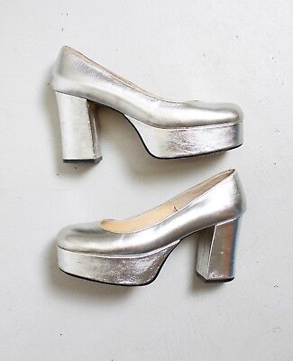 Vintage Silver Platforms 1970s Metallic Leather Chunky Heels Shoes 70s SZ 5