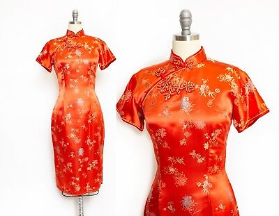 Vintage 1950s Cheongsam Dress Red Satin Floral Wiggle Chinese Small Medium